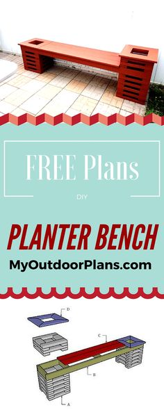 Planter Bench Plans - Step by step tutorial and detailed instructions for you to build a wood bench with two planters that are attached on both sides! myoutdoorplans.com #diy #bench
