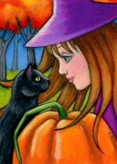 """Cat Art... =^. ^=... ❤... """"Black Cat, Witch, Pumpkin Halloween"""" By Artist Lisa Nelson..."""