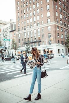 Tessa Barton: Blue Jeans Striped Shirt... - Street Style