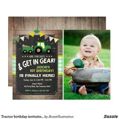 Tractor birthday invitation Farm party Boy Green ♥ A perfect way to invite your guests to your little one's birthday party! With a tractor farm theme. Farm Animal Birthday, 1st Boy Birthday, Boy Birthday Parties, Birthday Ideas, Happy Birthday, Themed Parties, Birthday Decorations, Tractor Birthday Invitations, Monster 1st Birthdays