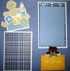 New Arrival Boy 12x12 premade double layout scrapbook pages with paper piecings | eBay