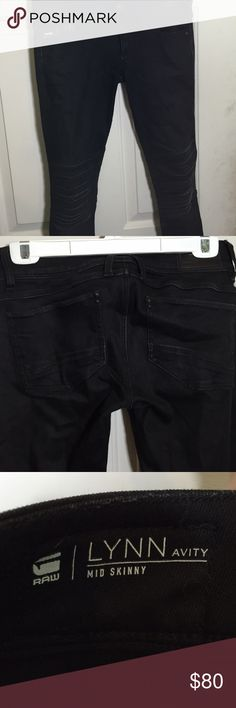 G-Star Black Lynn Skinny Moto Style Jeans Beautiful and comfortable G-Star jeans in the raw denim stretch Lynn skinny moto style! They are a 26 and run true to size but do stretch! They and brand new with tags attached, never been worn and ready for you to wear! G-Star Jeans Skinny