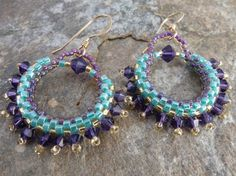 Earrings in Aqua and Purple Glass Beads and Swarovski Crystals by SierraBeader, $38.00