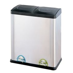 Create your own recycling program at home with the Organize It All Step-On Stainless Steel Recycling Bin. Designed to make recycling easy. Trash Disposal, Trash And Recycling Bin, Recycling Center, Thing 1, Garbage Can, Trash Bag, Brushed Stainless Steel, Storage Organization, Kitchen Organization