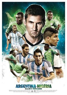 Argentina x Nigeria - Brasil Match posters on Behance, by Gonza Rodriguez Sports Advertising, Sports Marketing, Sports Images, Sports Art, Sports Posters, Messi Photos, Team Photos, Sports Graphic Design, Sport Design