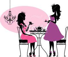Teatime Princesses Royalty Free Stock Vector Art Illustration