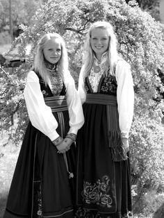 Norwegian women wearing traditional dress