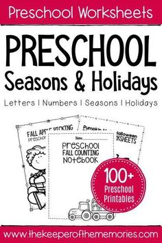 If you're looking for preschool worksheets, then you're definitely going to want to take a look around. On this page, you'll find tons of no prep printable activities covering lots of preschool skills. Literacy Worksheets, Printable Preschool Worksheets, Math Literacy, Seasons Worksheets, Free Printables, Preschool Names, Fall Preschool, Toddler Learning Activities, Preschool Activities