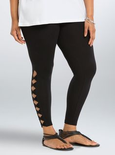 """<p>We bow down to these leggings! The """"we are not worthy"""" feels come with the black stretchy-soft cotton and elastic waistband; but the royal treatment comes with the skin-flashing bow appliques along the sides.</p>  <ul> <li>28"""" inseam</li> <li>Cotton/spandex</li> <li>Wash cold, dry low</li> <li>Imported</li> </ul>"""