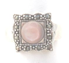 Vintage Sterling Silver Rose Quartz Marcasite Ring. Stamped NF 925. Wide Band. Well Made. Very Nice Condition. Ring Size 7.   Thank you for opening the door to my world of ... #teamlove #vogueteam