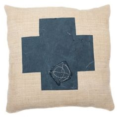 Europe2You Vintage Swiss Cross Pillow- Inspired by Switzerland's Flag, this pillow mixes 1930s Hungarian grain sack with navy blue truck tarp creating a truly unique piece.