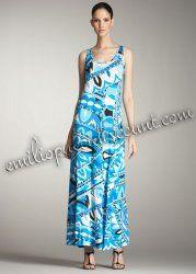EMILIO PUCCI Blue Print Tank Maxi Dress On Sale
