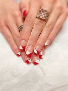 White & red gel nails