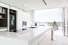 White Boform Line with top in Corian and appliances from Gaggenau Bespoke Kitchens, Corian, Kitchen Design, Appliances, Table, Top, Furniture, Home Decor, Gadgets