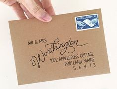 Custom return address stamp for your envelopes and stationery. Hand Lettering Envelopes, Calligraphy Envelope, Envelope Art, Envelope Design, Calligraphy Fonts, Script Fonts, Modern Calligraphy, Fancy Envelopes, Mail Art Envelopes