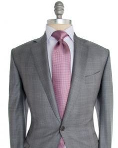 Image of Ermenegildo Zegna Light Grey with Pale Grey Plaid Suit