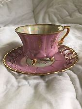 Vintage Royal Sealy China Tea Cup and Saucer Pink Gold Iridescent