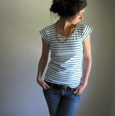 Emerald Green and White Stripe Cotton Tee Shirt / Nautical Stripe / Cap Sleeve Blouse / Made to Order