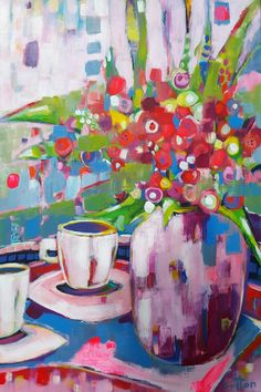 """""""Coffee With Ruby"""" by Debra Sutton. Paintings for Sale. Bluethumb - Online Art Gallery"""