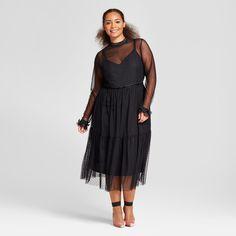 2267ed45bb33 Women s Plus Size Fabric Mix Midi Dress - Who What Wear Black X Wearing  Black