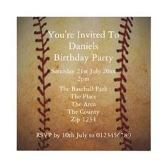 Sports invitation .. baseball party custom invites