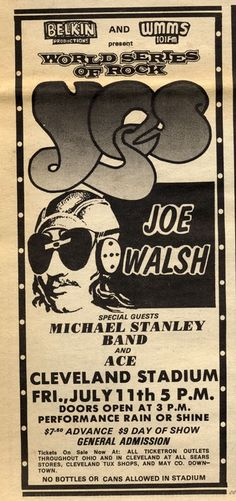 Yes with Joe Walsh, a fantastic double bill Yes Concert, Concert Flyer, Rock Concert, Tour Posters, Band Posters, Music Posters, Cleveland Concerts, Psychedelic Bands, Music Tours