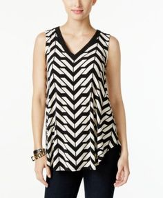 Alfani Petite Embellished Printed Swing Top, Only at Macy's | macys.com