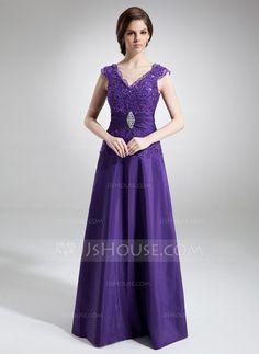 A-Line/Princess V-neck Floor-Length Taffeta Lace Mother of the Bride Dress With Ruffle Beading (008006011)