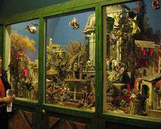 Neapolitan Creche/Presepe, Nativity Display at Carmel, CA Basilica (Misión San Carlos Borromeo). Includes 18th c. dressed figures from Mallorca, Spain.