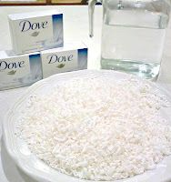 Homemade bodywash:  1.  6 C. Distilled Water  2.  3 bars of Dove soap, grated  3.  Put in a pan on the stove, stir occasionally til soap is dissolved  4.  transfer to a glass bowl & cool 24 hrs.  5.  Pour into bottle for the shower.  Cost = $1.72 for 24 oz.