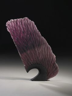 "Alex Bernstein | 'Purple Point' - Cast, Cut Glass, Fused Steel Art-Glass Sculpture | D:23.25"" x 19.5"" x 2.25"" 