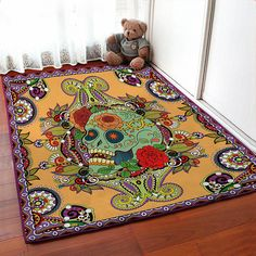 Orange floral skull carpet skull area rug skull floor rugs