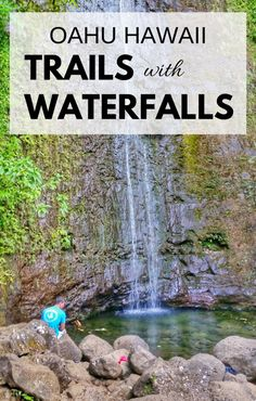 Waterfalls in Oahu with some popular hikes in Hawaii. For US hiking trails in Hawaii, there are tons of hikes on Oahu to choose during Hawaii vacation on the island and there are a few Oahu waterfall hikes too. Manoa Falls is near Honolulu and Waikiki, and Waimea Falls is on the North Shore. People go swimming at both. Outdoor travel destinations and activities for the bucket list for budget adventures! Put hiking gear and outfits on the Hawaii packing list!