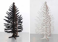 black and white miniature christmas trees