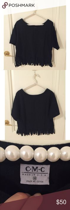 Color Me Cotton Black Fringe Shirt Excellent, like new condition. Size women's M, features a boxy/slightly cropped fit and fringe at the bottom. Color Me Cotton is a natural fiber clothing brand only sold through boutiques. All sales final. Color Me Cotton Tops