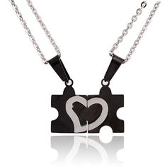 NEW 2pcs His and Hers Couples Split Heart Jigsaw Puzzle Pendant Necklace NL-2474 #Welldone #Pendant