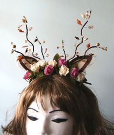 Antlers With Floral Garland Headband Fancy Dress Kitsch Autumn Deer Bambi
