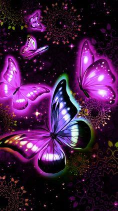 By Artist Unknown. Purple Butterfly Wallpaper, Butterfly Background, Flower Phone Wallpaper, Cute Wallpaper Backgrounds, Love Wallpaper, Cellphone Wallpaper, Pretty Wallpapers, Butterfly Painting, Butterfly Art