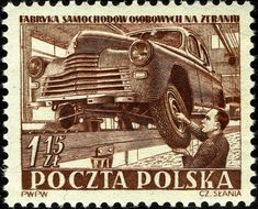 Auto assembly plant in Zeran. The image of the auto worker is Slania himself. Invasion Of Poland, Stamp Collecting, My Stamp, World War Ii, Postage Stamps, Archaeology, Cars, Buses, Countries