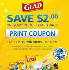 Save $2 on Glad Odour Guard Bags  *Coupon Expires on Sept 30*