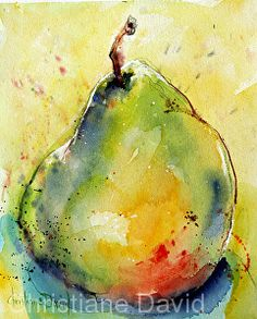 0902009 Ripe With Color by Christiane David, Watercolor Watercolor Fruit, Fruit Painting, Pen And Watercolor, Abstract Watercolor, Watercolour Painting, Watercolor Flowers, Watercolours, Watercolor Paintings For Beginners, Watercolor Projects