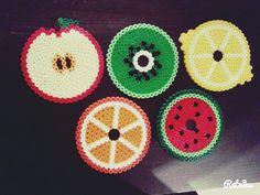 Obst & Früchte Untersetzer aus Bügelperlen Apfel, Kiwi, Zitrone, Orange, Wassermelone