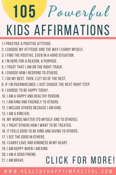 Kids affirmations for self-esteem and encouragement. Includes a free printable in the form of an awesome ebook. Use this positive parenting technique for how to build confidence in girls and boys! #mantrasforkids #toddleraffirmations Positive Affirmations For Kids, Affirmations For Women, Self Love Affirmations, Morning Affirmations, Positive Things, Positive Attitude, Kid Yoga, Yoga For Kids, About Me