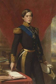 "Portrait of Pedro V, King of Portugal, Franz Xaver Winterhalter, c. 1854. Of the house of Saxe-Coburg-Gotha, and a 1st cousin 1x removed of Victoria and Albert.  Called ""The Hopeful,"" was a promising king who died young with several other members of his family of typhoid, not long pre-deceasing his cousin Albert who died of the same disease.  Portrait, typical Winterhalter, flattering."