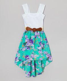 Look at this #zulilyfind! White & Mint Floral Belted Dress - Girls #zulilyfinds