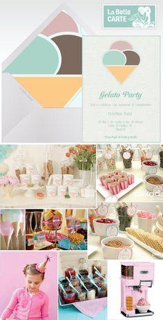 Gelato Party online invitations baby shower, gelato bar, ice cream bar, wedding ideas, invitaciones virtuales gelato, baby shower, fiesta cumpleaños - La Belle Carte http://www.labellecarte.com
