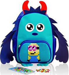 EPIC KIDS Backpack Blue Monster with Customizable Pixel A...