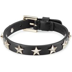 RED Valentino Star Studded Leather Bracelet ($86) ❤ liked on Polyvore featuring jewelry, bracelets, black, leather jewelry, leather bangles, star jewelry, studded jewelry and star bangle