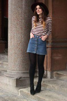9e1c72e4ad9ba Duffle Coat Striped Top Beatnik Outfit. Autumn Skirt OutfitBlack Denim ...