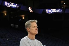 Head coach Steve Kerr of the Golden State Warriors stands on the court during a practice for the 2017 NBA Finals at ORACLE Arena on May 31 2017 in...